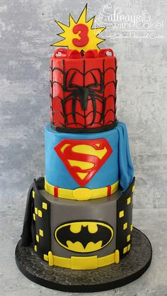 Superhero Cake (Batman, Superman, Spiderman)
