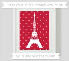 Cardinal Red Star Pattern  8x10 Eiffel Tower Art Print