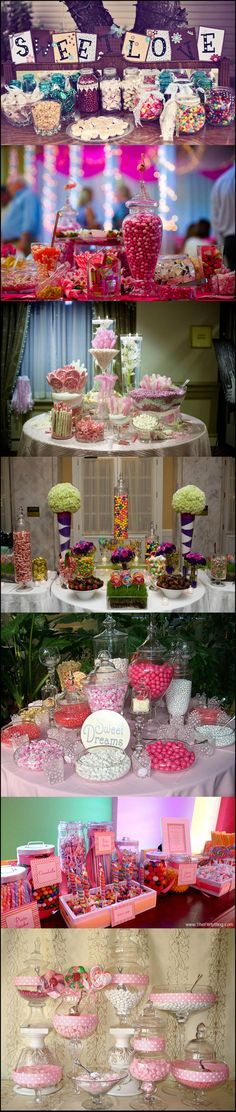 Candy buffets are such a fun addition to any reception! Just make sure it's elegant an within your theme colors . Have a variety of candy to make your guests happy! You can even make that your favor and save money, just give everyone a cute little candy bag!