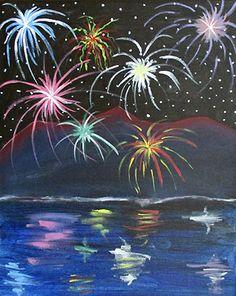 "J. Petersen ""Mountain Fireworks"" #art #sky #fireworks #paintnite"