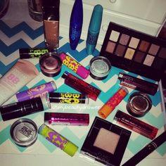 Maybelline products.  #makeup #motd #fotd #makeupmess #makeupporn #maybelline #babylips #mascara #thenudes #eyeshadow #palette #colortattoos #bbcream #lipbalm #colorwhisper #lipstick