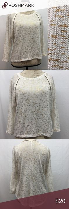 """Bongo Lightweight Sweater Bongo Lightweight sweater with gold flecks. Excellent NWOT no flaws condition. Armpit to armpit 21"""". Shoulder to bottom hem front 20"""", back 25"""". BONGO Sweaters"""