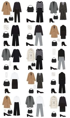 Autumn Capsule Wardrobe Workwear Outfit Options Some Cool Ideas for Outfits for School Of cour Capsule Wardrobe 2018, Capsule Outfits, Fashion Capsule, Fall Outfits, Mom Outfits, Fashion Mode, Look Fashion, Autumn Fashion, Fashion Outfits