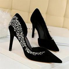 Black High Heels, Black 7, Bridal Heels, Pump Types, Shoes Heels, Pumps, Pointed Toe Heels, Bling, Slip On