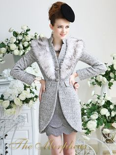 Morpheus Boutique  - Grey Trendy Hair Collar Long Sleeve Luxury Woollen Coat