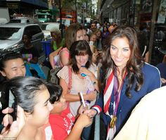Idol: Team USA's Olympic soccer star Hope Solo was mobbed by autograph hunters who gathered to catch a glimpse of their idol before an appearance on the Today Show in New York. Olympics 2012