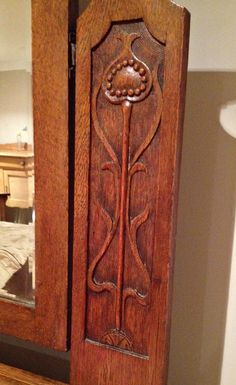 My english Arts and crafts oak dresser - pomegranate design; art nouveau influence; craftsman style; arts and crafts bungalow