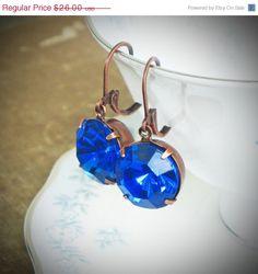 Blue VIntage Rhinestone Solitaire Earrings by RewElliott