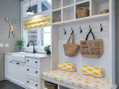 Nantucket Mudroom Home Trends 2018 home color trends Laundry Decor, Laundry Room Design, Kitchen Design, House Plans And More, Luxury House Plans, Dream Home Design, House Design, Modern Farmhouse Plans, Home Trends