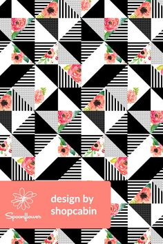 Floral Dreams Quilt by shopcabin. Black and white geometric shapes with floral pattern as quilt inspiration....