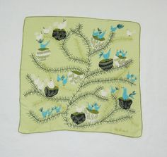 1960s birds and nests hankie by Pat Prichard by HappyCloudImports, $10.00