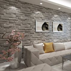 Peel and Stick Wall Panels White Brick Wallpaper / Wall Decals / Wall Accent / TV Walls - Wallpaper Ideas Brick Wallpaper Living Room, Brick Pattern Wallpaper, White Brick Wallpaper, Accent Walls In Living Room, Living Room Background, Living Room Modern, Wall Wallpaper, Stone Wall Living Room, Wallpaper Ideas