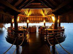 Le Lotus Restaurant in Tahiti at the Intercontinental Tahiti Resort Tahiti Resorts, Hotels And Resorts, Dream Vacations, Vacation Spots, Restaurants, Overwater Bungalows, French Polynesia, United States Travel, Bora Bora