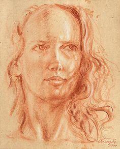 Fine Art Conte Portrait - Conte and white chalk drawing - Portrait Study