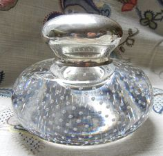 Stunning Antique Gorham Sterling Silver Suspended Air Bubbles Large Inkwell