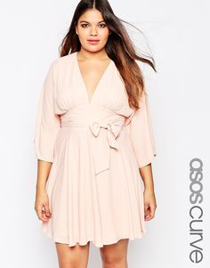Image 1 of ASOS CURVE Kaftan Skater Dress