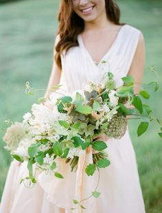 Fresh Green and Blush Summer Bouquet:    Photography: Samantha Kirk Bouquet: Poppy Design Co. Ribbon: Frou Frou Chic Dress: Chaviano Couture  Organic-Blush-Wedding-Inspiration-Style-Me-Pretty-Weddings