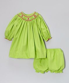 Take a look at this Lime Peppermint Bishop Dress & Bloomers - Infant & Toddler by Petit Ami on #zulily today!