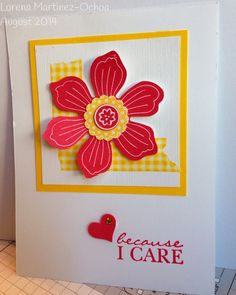 Stampin' Up! Bloom for You stamp, Strawberry Slush ink, Washi Tape and Fun flower Punch.