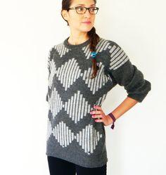 Vintage Slouchy Geometric Sweater/Unisex Sweater/Boyfriend Sweater/Oversized 80s Mens Sweater