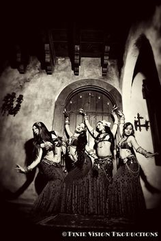 Shakti Dance Movement/ Tribal Fusion Belly Dance Co. Honolulu, Hawaii http://www.shakti808.com  sepia; belly dancers; spanish; rustic; building; photography