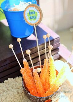 Rock candy lollipops for a Moana party | CatchMyParty.com