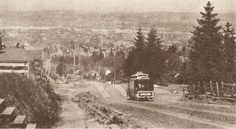 Incredible view of cable car heading down from Portland Heights toward Goose Hollow. Trolley is at SW 18th and Clifton. Oregon Historical Society collection.