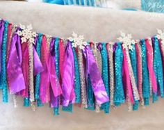 Items similar to Frozen Birthday Party Decorations, Paper Garland, Frozen Style Decorations, Elsa Birthday, Frozen Party, Disney Princess Decor on Etsy