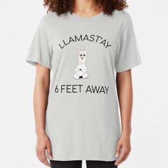 Llamastay 6 Feet Away Men/'s T Shirt Funny  Llama  Social Distancing Cotton Tee