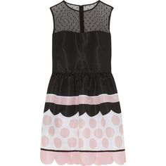 REDValentino Tulle-paneled printed faille mini dress (£595) ❤ liked on Polyvore featuring dresses, pink, pink polka dot dress, short dresses, scalloped dress, swiss dot dress and pink dot dress