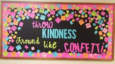 I went with a non-traditional october bulletin board. Throw kindness around like confetti bulletin board. I went with a non-traditional october bulletin board. Throw kindness around like confetti bulletin board. October Bulletin Boards, Classroom Bulletin Boards, Classroom Door, School Classroom, Classroom Organization, Classroom Setup, Interactive Bulletin Boards, Classroom Management, Kindness Projects
