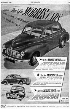 Classic European Cars, Classic Cars, Morris Oxford, Morris Minor, Car Illustration, First Car, Commercial Vehicle, Small Cars, Old Cars