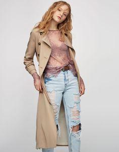 Long-sleeved lace shirt - Blouses & shirts - Clothing - Woman - PULL&BEAR Spain