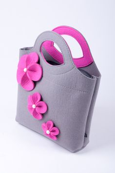 Light grey melange Felt Bag Bianca. Original by FELTTERRA on Etsy