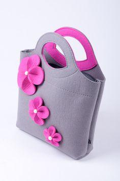 Grigio melange borsa del feltro Bianca. Originale di FELTTERRA