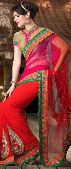 Dark Pink and Red Net Saree With Blouse @ $129.00
