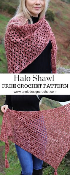 Halo Shawl – Free Crochet Shawl Pattern – Annie Design Crochet Scarves - Fashion Tips From Solid Col Crochet Prayer Shawls, Crochet Shawl Free, Crochet Shawls And Wraps, Crochet Scarves, Crochet Clothes, Knit Crochet, Crochet Hats, Crochet Stitches, Crochet Patterns For Scarves