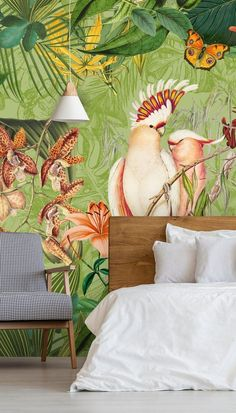 Shop this jungle feel Cockatoos and Butterflies Mural by Andrea Haase. Enjoy jungle vibes in any room with this tropical, jungle style wallpaper. Featuring an illustrated cockatoo and detailed jungle foliage, this tropical wallpaper will make a great addition in any bedroom or living room. Find more home inspiration from Wallsauce. We have a large collection and a free delivery service! Click to find out more! #colourful #colourfulhomes #homeinspiration #wallpaper #wallmural #homeofficeinspo