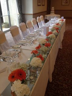 Venue Decorations | Vickys Flowers - Wedding Flower service with style and creativity | East Calder , West Lothian Wedding Table Centres, Flower Service, Table Centers, Wedding Flowers, Table Settings, Creativity, Decorations, Style, Wedding Table Centerpieces