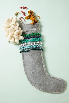 Pom-Stitched Stocking by Anthropologie