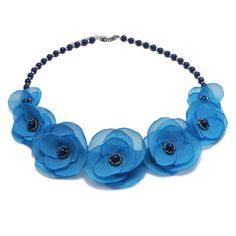 BLU SKY | Colier statement elegant Floral Necklace, Handmade Jewelry, Ribbon, Sky, Elegant, Blue, Necklaces, Tape, Heaven