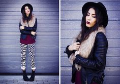 Zara Hat, H&M Faux Fur, Sheinside Jacket, Sheinside Pants, Wholesale7 Boots