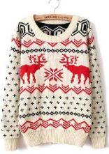 Beige Long Sleeve Deer Print Loose Pullovers Sweater $25   Aww sho cute!!!