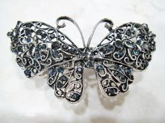 Silver and blue butterfly filigree hair clip by LindasAccessories