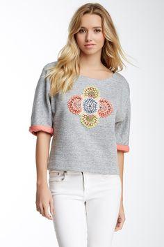 Elizabeth and James Floral Embroidered Sweatshirt by Elizabeth and James on @nordstrom_rack