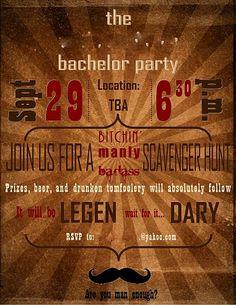 Bachelor party scavenger hunt invite