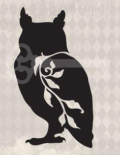 filigree owl original illustration digital download: Image No.417, Commercial and Personal Use, image transfer, printable artwork