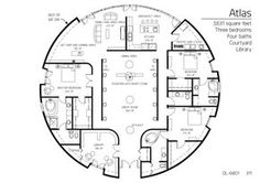 Atlas: 3/4 bedroom, 4 baths 3,631 sq. ft. Monolithic dome plans