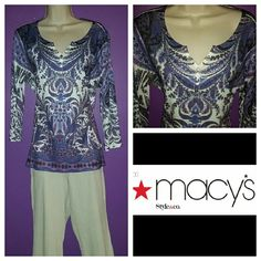 """Paisley Top This shirt is embellished with silver and purple studs.  Paisley printed top.  3/4"""" sleeves.  V neck.  Lightweight and comfortable.  Lots of life.  Make offer.  Save on bundles. Macy's Tops Tees - Long Sleeve"""