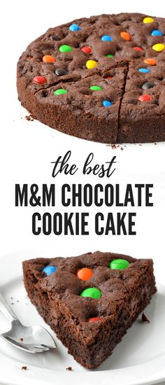 A deliciously thick and chewy M&M Chocolate Cookie Cake filled with M&M candy and chocolate chunks. Find the easy recipe on sweetestmenu.com #cookies #mandms #cake #chocolate